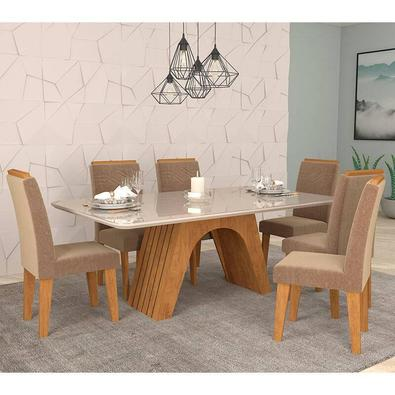 Conjunto de Mesa Clara para Sala de Jantar com 6 Cadeiras Taís Moldura-Cimol  O Conjunto de Mesa Clara para Sala de Jantar com Cadeiras Taís Moldura d