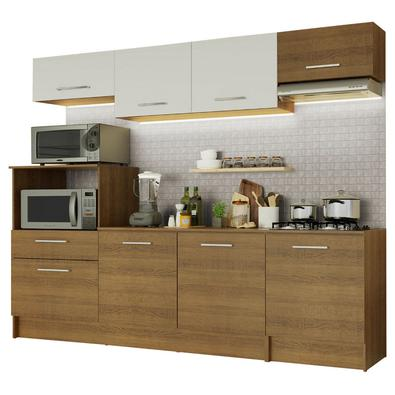 A Cozinha Completa Onix da Madesa se destaca pela praticidade e por seu design contemporâneo.Este modelo contempla dois balcões e dois armários aéreos