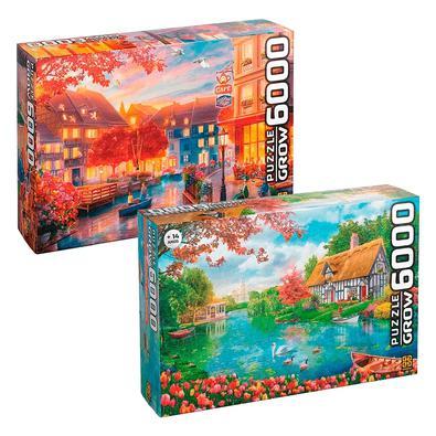 Um kit composto por dois puzzle Os Gigantes 6000 peças.1 - 6000 peças Recanto das Flores1 - 6000 peças Le Petit CaféRecanto das FloresNão deixe de se