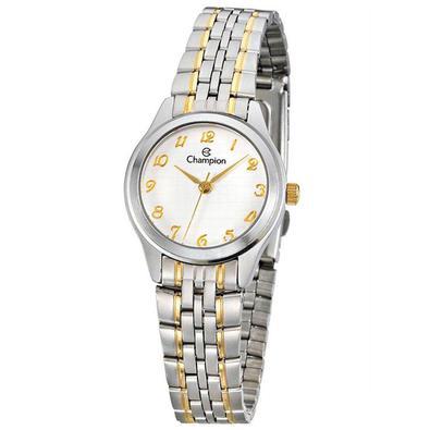 Relógio Champion possui mecanismo analógico, pulseira na cor prata com faixas douradas, fabricada em aço, possui fecho de travas de pressão, vidro fab