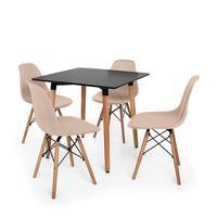 Kit Mesa Jantar Eiffel 80x80cm + 4 Cadeiras Charles Eames O Kit Mesa Jantar Eiffel 80x80cm + 4 Cadeiras Charles Eames são importantes itens para a sua