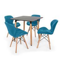 Conjunto de Mesa de Jantar Eiffel 80x80cm com 4 Cadeiras Slim Wood Estofada O Conjunto de Mesa de Jantar Eiffel com Cadeiras Slim Wood Estofada é um i