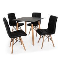 Conjunto de Mesa de Jantar Eiffel 80x80cm com 04 Cadeiras Gomos Estofada  O Conjunto de Mesa de Jantar Eiffel com Cadeiras Gomos Estofada é um importa
