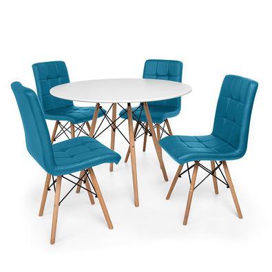 Conjunto de Mesa de Jantar Eiffel 100cm com 04 Cadeiras Gomos Estofada O Conjunto de Mesa de Jantar Eiffel com Cadeiras Gomos Estofada é um importante