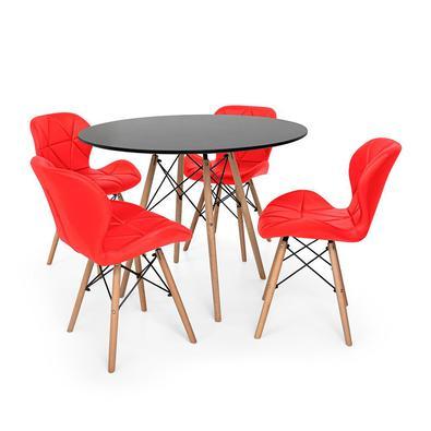 Conjunto de Mesa de Jantar Eiffel 120cm com 4 Cadeiras Slim Wood Estofada O Conjunto de Mesa de Jantar Eiffel com Cadeiras Slim Wood Estofada é um imp