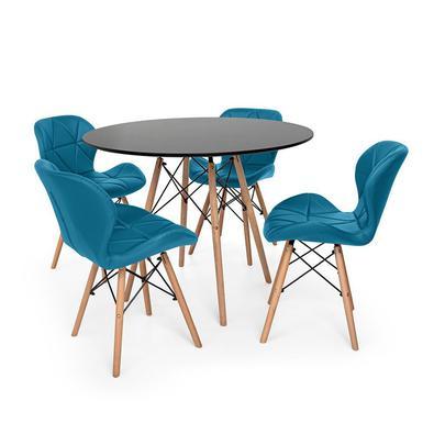 Conjunto de Mesa de Jantar Eiffel 90cm com 4 Cadeiras Slim Wood Estofada O Conjunto de Mesa de Jantar Eiffel com Cadeiras Slim Wood Estofada é um impo