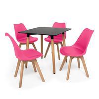 Kit Mesa Jantar Eiffel 80x80cm + 4 Cadeira Eames Wood Leda Design  O Kit Mesa Jantar Eiffel 80x80cm + 4 Cadeira Eames Wood Leda Design vai dar um up n