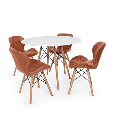 Conjunto de Mesa de Jantar Eiffel 100cm com 4 Cadeiras Slim Wood Estofada  O Conjunto de Mesa de Jantar Eiffel com Cadeiras Slim Wood Estofada é um im