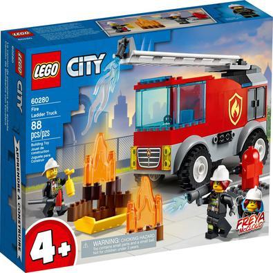 Um presente para crianças que adoram brinquedos de ação, LEGO® City Caminhão dos Bombeiros com Escada (60280) tem um icônico caminhão dos bombeiros co