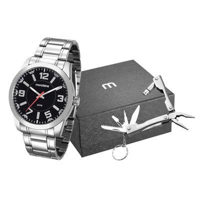 Kit Relógio Masculino Mondaine é perfeito para os homens que adoram estilo, com acompanhamento de um lindo brinde. O modelo 99141G0MVNE2K2 na cor prat