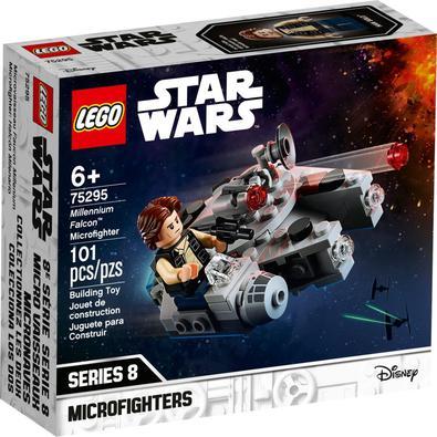 Dê a uma criança um presente inesperado com LEGO®StarWars™ Microfighter Millennium Falcon (75295). Baseado no design de veículo icônico da trilogia