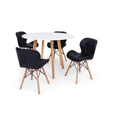 Conjunto Mesa de Jantar Laura 100cm com 4 Cadeiras Eames Eiffel Slim O Conjunto Mesa de Jantar Laura com Cadeiras Leda são importantes itens para a su