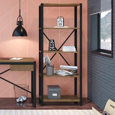 Estante de Aço 5 Prateleiras 14060 Artesano   Estante da Linha Steel Light que combina beleza e rusticidade. Confeccionada em madeira ecologicamente c