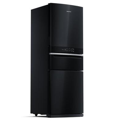 A Geladeira Brastemp Frost Free Inverse 3 com 419 litros possui configuração Inverse, com geladeira em cima e freezer embaixo, deixando os alimentos n