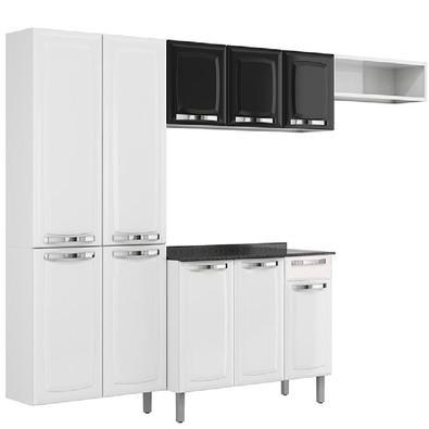 Conjunto Cozinha Itatiaia Rose 4 Peças Preto com Paneleiro, Balcão / Gabinete Branco, Armário Aéreo, Nicho aberto decorativo. Soluções práticas e extr