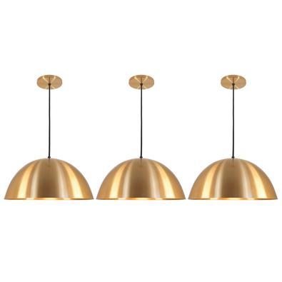 Pendente Meia Lua Deluxe ECO Dourado Kit com 3 O Pendente Meia Lua Deluxe é uma peça decorativa, servindo para atender o exigente mercado da iluminaçã