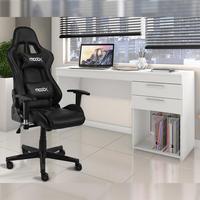 Conjunto Cadeira Gamer MoobX Thunder Preto com Escrivaninha / Mesa Computador / Mesa Escritório Notavel com 2 Gavetas para Escritorio Branca Seu espaç