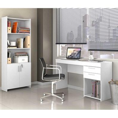 Conjunto Escritorio 2 Peças com Escrivaninha 2 Gavetas Office e Armario Multiuso 2 Portas Branco Produzidos com material de alto padrão de qualidade q