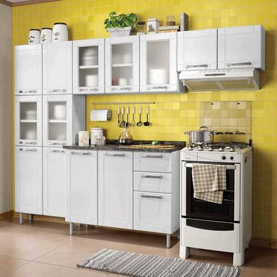 Cozinha Bertolini Multipla Compacta 4 Pecas 5 Vidros Branco Paneleiro Duplo, Armarios Aereos e Gabinete A linha de produtos em aço Múltipla, da Bertol