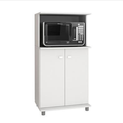 Balcão Multiuso Organizador Tecnomobili BL3307, possui duas portas, espaço para colocar forno e/ou microondas, estrutura em MDP, acabamento em pintura