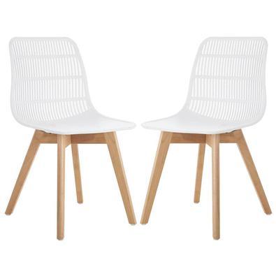 Descrição do Produto: Kit 02 Cadeiras Decorativas Sala e Cozinha Aquilae (PP) Branco - Gran Belo com um design versátil e moderno que possibilita seu