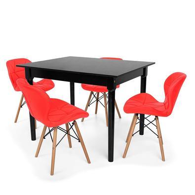 Conjunto Mesa de Jantar Robust 110x90 com 4 Cadeiras Eames Eiffel Slim O Conjunto Mesa de Jantar Robust com Cadeiras Slim são importantes itens para a