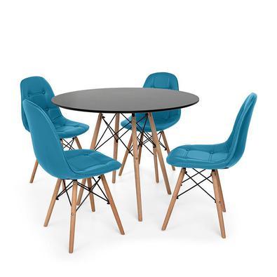 Kit Mesa Jantar Eiffel 90cm + 4 Cadeiras Dkr Charles Eames Wood Estofada Botonê O Kit Mesa Jantar Eiffel com Cadeiras Botonê são importantes itens par