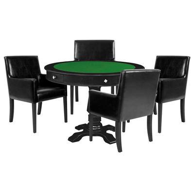 Descrição do Produto: Mesa de Jogos Carteado Victoria Redonda Tampo Reversível Preto com Kit 4 Cadeiras Liverpool Corino Preto Liso - Gran Belo confec
