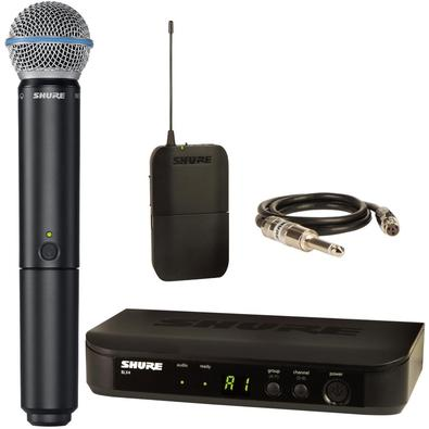 Sistema sem Fio BLX14BR-J10 com Microfone BLX2/B58-J10BLX14Sistema sem fio O sistema de guitarra sem fio Shure mais acessível, com configuração simple