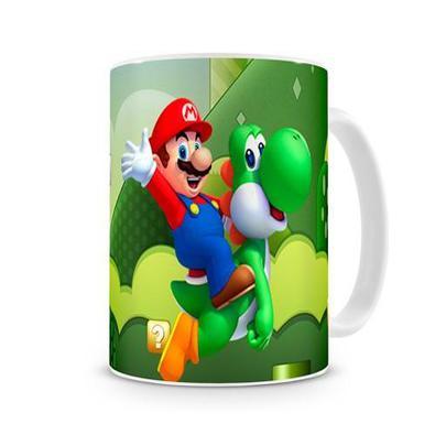 Caneca Mario Bros (world) E Yoshi Branca