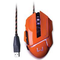 O mouse gamer laranja com tecnologia led proporciona além de conforto durante jogos de longa duração, funções multimídia para avançar e retornar e um