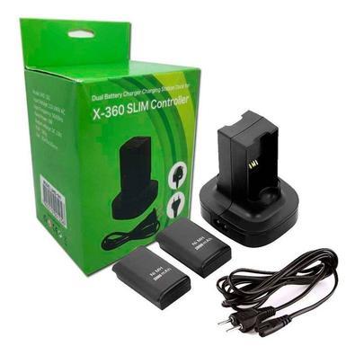 Carregador Duplo Com 2 Baterias Controle P/ Xbox 360 4800mah Recarregue rapidamente até duas baterias ao mesmo tempo, uma solução mais limpa de carreg