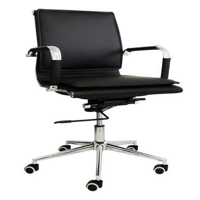 """Com design moderno a """"Cadeira Diretor Pelegrin em Couro PU PEL-8003L Preta Design Charles Eames"""" é um ícone da decoração e é a escolha perfeita para q"""