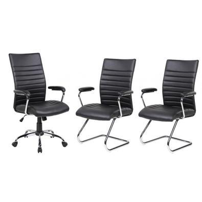 Conjunto Com 1 Cadeira Presidente E 2 Cadeiras Interlocutores Em Couro Pu Pel-9023h/v Pretas
