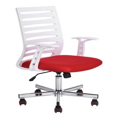 """Com o design da """"Cadeira Diretor Pelegrin PEL-BF57 Branca e Vermelha"""" o ambiente se transforma em um local descontraído, devido as suas cores, e també"""
