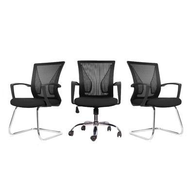 """Com design moderno o """"Conjunto com 1 Cadeira Diretor e 2 Cadeiras Interlocutor Pelegrin PEL-0201 Tela Mesh Preta"""" é uma ótima escolha para ambientes c"""
