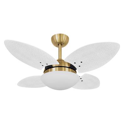 Ventilador De Teto Volare Dourado Vr28 Mini Petalo Palmae Branco 127V Referencia: 60111 Os Ventiladores Volare são desenvolvidos com tecnologia de pon