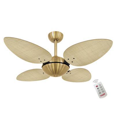 Ventilador De Teto Volare Dourado Office Petalo Palmae Natural 127V e Controle Remoto Referencia: 60010 Os Ventiladores Volare são desenvolvidos com t