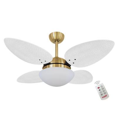 Ventilador De Teto Volare Dourado Vr42 Petalo Palmae Branco 220V e Controle Remoto Referencia: 60040 Os Ventiladores Volare são desenvolvidos com tecn