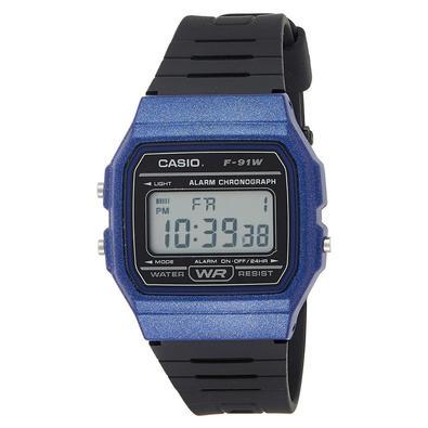 Relógio Feminino Casio Digital F-91wm-2adf Azul/preto