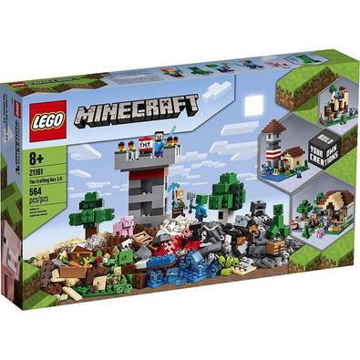 O LEGO Minecraft A Caixa de Minecraft 21161 traz a diversão do Minecraft para o mundo real com um conjunto diversificado de peças e peças de construçã