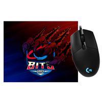 Kit Gamer 2 em 1 - Mouse Logitech G203 Prodigy + Mouse Pad Bits Raptor Grande