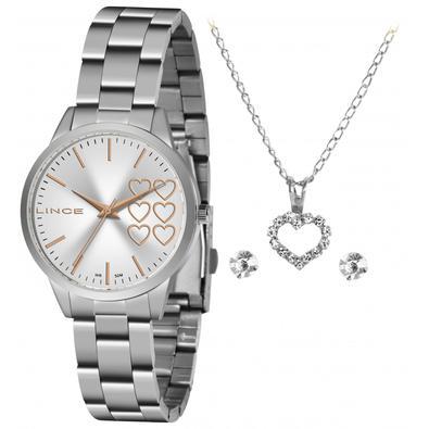 Kit Relógio Lince Feminino Analógico Prata - Acompanha um colar e par de brincos.