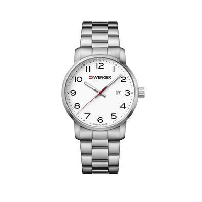 Relógio Wenger AvenueProjetado para ser essencial e resistir ao seu estilo de vidadiário. Linhas essenciais definem sua forma, brilhando nas mãos escu