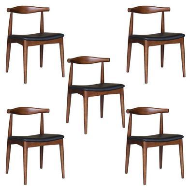 Descrição do Produto: kit 5 Cadeiras Decorativas Sala e Escritório Nami Madeira Tabaco - Gran Belo inspirada no conceito escandinavo elegante e singel