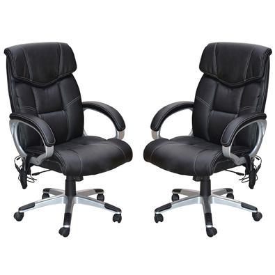 Descrição do Produto: Kit 2 Cadeira de Escritório Home Office Ceuta Giratória com Massagem PU Preta - Gran Belo é o produto ideal para quem gosta de r