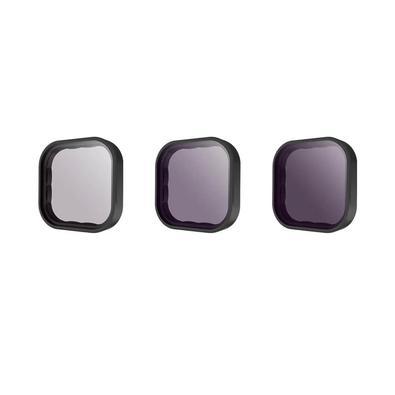 Melhore significativamente a qualidade das imagens feitas com sua GoPro Hero 9 Black utilizando este kit de filtros da Telesin. São 3 filtros de densi