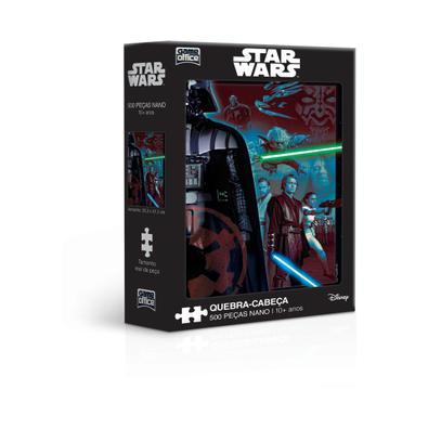 Quebra-cabeça nano de 500 peças com os personagens da segunda trilogia de Star Wars! Temos um padrão internacional de qualidade e encaixe suave que po