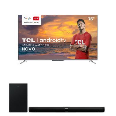 Smart Tv Tcl Led Ultra Hd 4k 75'' - 75p715 + Soundbar Ray Danz Tcl, 3.1 Canais, 540w - Ts9030