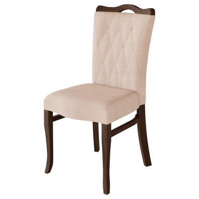 Cadeira Decorativa Sala de Jantar Micenas Madeira Maciça com Puxador Poliéster Bege - Gran Belo é um produto desenvolvido pensado na relação custo ben